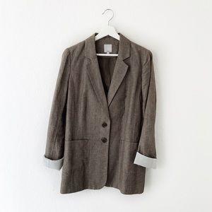 Halogen Linen Blend Tan Gray Blazer Jacket